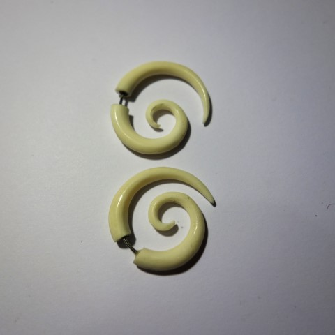 Black Spiral Hand Carved Bone Gauges Slim Geomatrix Design